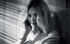 Картинка актриса, блондинка, черно-белое, Dakota Fanning