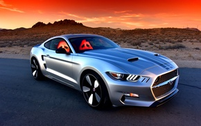 Картинка дорога, закат, пустыня, Mustang, Ford, концепт, Auto, Sports, Rocket, Galpin, 2016