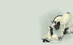 Картинка фентези, малыш, арт, единорог, детская, первый снег