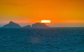Картинка море, закат, остров, Бразилия, Рио-де-Жанейро, оранжевое небо, Ипанема