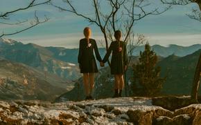 Картинка пейзаж, горы, девочки, вид, высота, пара, косички, Touch, нас не догонят