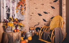 Картинка pumpkin, корзина, тыква, кирпич, Interior, autumn, Хэллоуин, окно, grapes, Holidays, осень, виноград, кресло, листья, halloween, ...