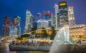 Картинка ночь, огни, люди, дома, Сингапур, ступени, фонтан, Marina Bay