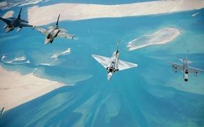Обои Самолет, Истребитель, Земля, 2000, Лайтнинг, Авиация, ВВС, Mirage, Мираж, Четыре, F 16, В Воздухе, F ...