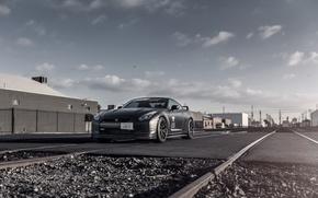Картинка матовый, Nissan, GT-R, black, ниссан, front