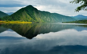 Картинка небо, вода, пейзаж, горы, природа, озеро, отражение