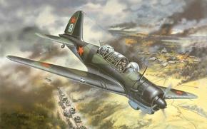 Картинка самолет, легкий, арт, СССР, бомбардировщик, ВВС, ВОВ, авианалет, разведчик, советский, WW2., колону, на немецкую, Су-2, …