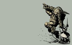 Картинка Bioshock, шприц, большой папочка, бур, сестричка