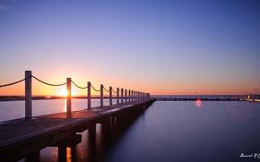 Картинка море, закат, вечер, пирс