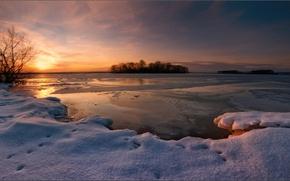 Картинка озеро, вечер, зима, снег, закат