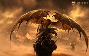 Картинка небо, горы, драконы, воин