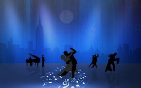 Картинка город, ноты, луна, рояль, пара, танцы