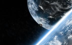 Картинка космос, звезды, облака, планеты, луны