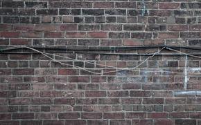 Обои кирпич, стена, текстура, кабель
