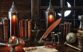Картинка перо, книги, месяц, окно, очки, фонари, натюрморт, глобус, винтаж, кубок