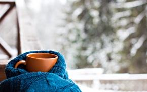 Картинка шарф, чашка, hot, winter, snow, cup, coffee