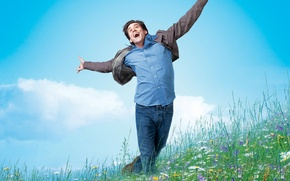 Картинка 2008, Jim Carrey, Nature, Clouds, Sky, Grass, Blue, Flowers, Wallpaper, Yes Man, Boy, Bradley Cooper, ...