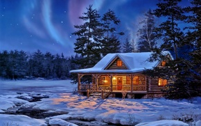 Картинка house, winter, snow, Forest