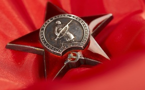 Обои красный, награда, звезда, 9мая, день победы