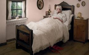 Обои волк, кровать, бабушка, сказка