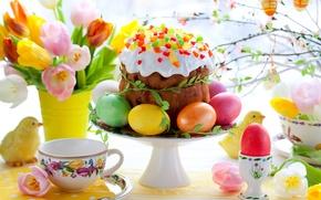 Картинка цветы, яйца, весна, colorful, пасха, тюльпаны, cake, кулич, flowers, tulips, spring, крашеные, пасхальный, eggs, easter