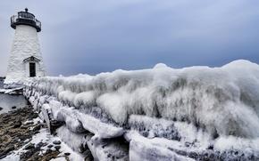 Картинка зима, маяк, лёд