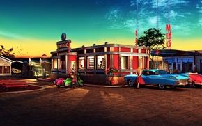 Картинка небо, девушка, машины, огни, закусочная, Винтаж