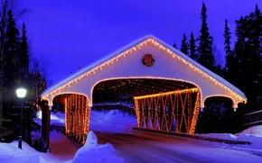 Картинка bridge, holiday, парк, snow, Happy New Year, Рождеством, зима, праздник, дорога, С Новым годом, Merry ...