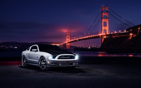 Картинка Car, Muscle, Nigth, Bridge, Aristo, White, Collection, Front, Top, Mustang, Ford