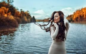 Картинка осень, ветер, волосы, портрет, Россия, Георгий Чернядьев