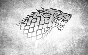 Обои House Stark, Игра престолов, Game of Thrones, Волк