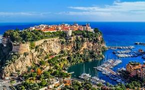Картинка море, небо, скалы, берег, побережье, дома, лодки, горизонт, катера, Монако, Monte Carlo