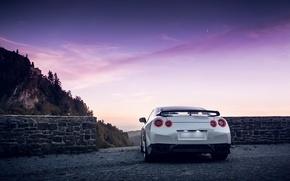 Картинка GTR, Moon, Nissan, Sky, Mountain, Lights, White, R35, Spoiler, Rear, Nigth