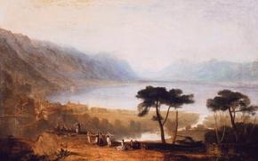 Картинка деревья, пейзаж, горы, озеро, люди, картина, Уильям Тёрнер, Lake of Geneva from Montreux