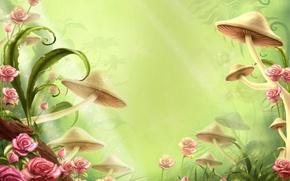 Обои цветы, детство, полянка, грибы, сказка
