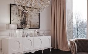 Картинка дизайн, мебель, лампа, интерьер, картина, кресло, окно, люстра, белая, штора, орхидея, гостиная