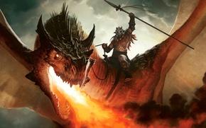 Картинка огонь, дракон, рисунок, воин, арт, всадник, Dragon, копьё, MTG, Magic: the Gathering