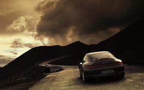 Обои дорога, облака, 911, 997, Porsche, Погода, Carrera 4
