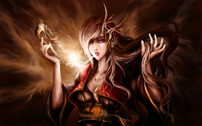 Картинка девушка, дым, трубка, арт, art