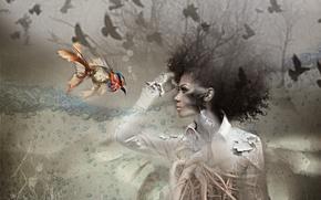 Картинка девушка, фон, птица, рыба
