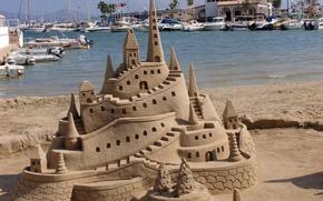 Картинка море, пляж, замок, яхты