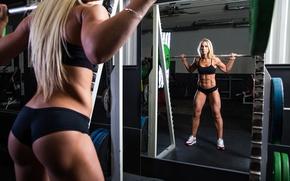 Картинка woman, mirror, fitness, sportswear, weight lifting