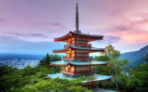 Картинка небо, крыши, Tokyo, Japan, Senso-ji temple, пагода храма Сенсо-дзи