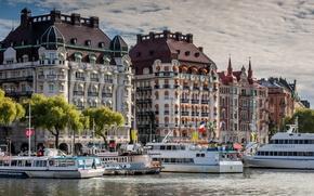 Картинка здания, причал, порт, Стокгольм, Швеция, набережная, Sweden, Stockholm, теплоходы, Норрмальм, Norrmalm, Esplanade and Diplomat Hotels