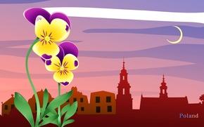 Картинка облака, пейзаж, цветы, город, путешествия, луна, Польша, туризм, страна, государство, Poland