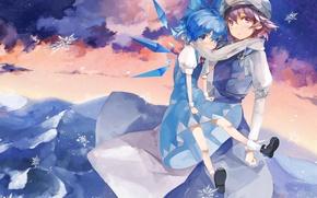 Картинка снежинки, девушки, шарф, платье, фея, touhou, art, тохо, cirno, saberiii, сырно, letty whiterock