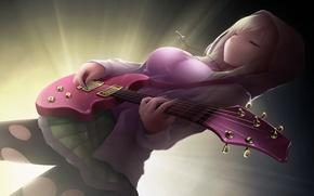 Картинка девушка, гитара, арт, капюшон, крестик, boku wa tomodachi ga sukunai, kashiwazaki sena, cait