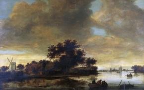 Картинка дерево, лодка, картина, Речной Пейзаж с Лодками и Мельницей на Берегу, Frans Anthonisz van der …