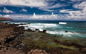 Обои море, волны, лето, небо, берег, облака