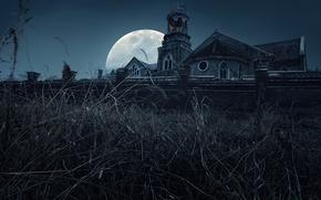 Картинка ночь, монастырь, полная луна